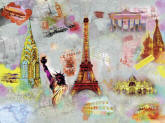 Around The World Wall Mural DM121 by Ideal Decor