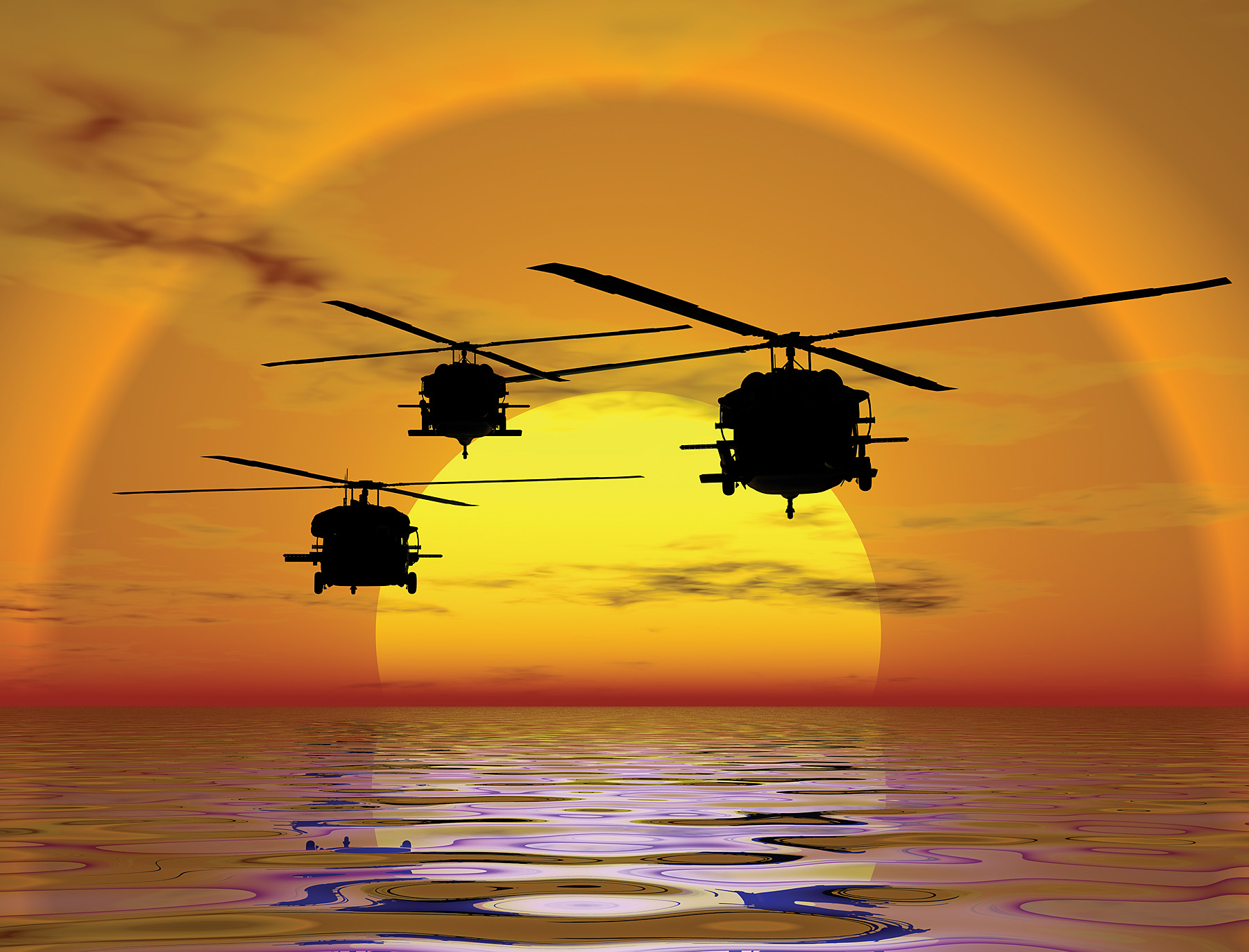 Helicopter Sunset Wall Mural 99456