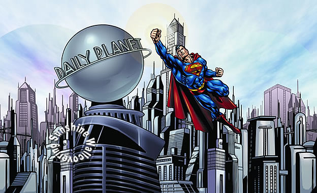 Superman cityscape yh1477m wall mural for Cityscape wall mural