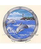 Dolphin Porthole wallpaper wall mural
