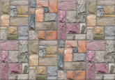 Colorful Limestone Brick Wall Mural 8109