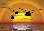 Helicopter Sunset Mural