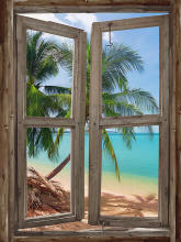 TROPICAL WINDOW SELF ADHESIVE WALL MURAL