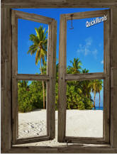 Beach Cabin #10 Window Peel & Stick (1 piece) Canvas Wall Mural