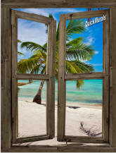 Beach Cabin #13 Window Peel & Stick (1 piece) Canvas Wall Mural