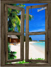 Beach Cabin #8 Window Peel & Stick (1 piece) Canvas Wall Mural