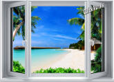 Beach Resort Window 1-Piece Canvas Peel & Stick Wall Mural