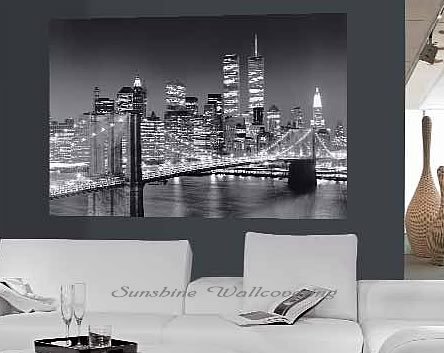 Brooklyn Bridge Wall Mural Black White 658 by Ideal Decor
