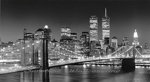 Brooklyn bridge wall mural black white 658 by ideal decor for Brooklyn bridge black and white wall mural