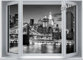Brooklyn Bridge Window One-Piece Canvas Peel & Stick Wall Mural