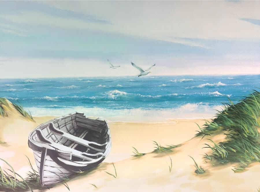 Beach boat wall mural 8 092 for Beach scene mural wallpaper
