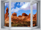 Desert Canyon Window 1-Piece Canvas Peel & Stick Wall Mural
