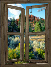 Desert Cabin Window Peel & Stick (1 piece) Canvas Wall Mural