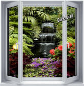 Floral Waterfall Window 1-Piece Canvas Peel & Stick Wall Mural