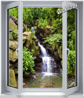 Black Forest Waterfall Window 1-Piece Peel & Stick Canvas Wall Mural