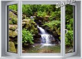 Mountain Waterfall Window One-piece Peel & Stick Canvas Wall Mural