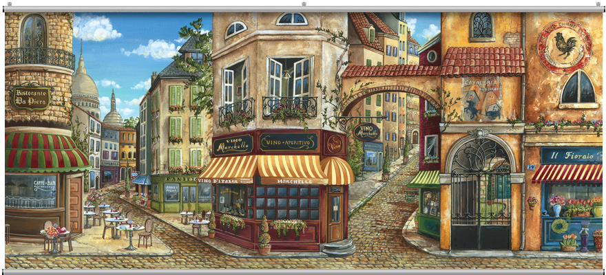Cafe street wall mural for Cafe wall mural