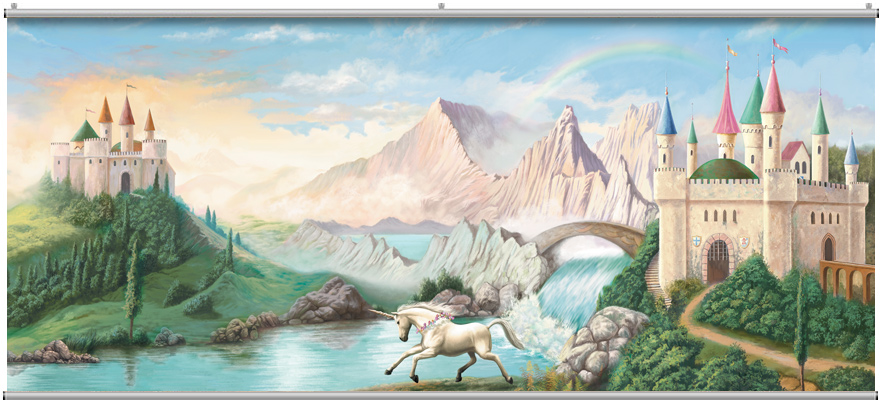Castle wall mural for Fairy castle wall mural