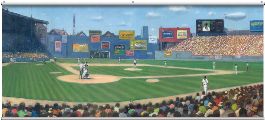 Basebal wall mural for Baseball mural wallpaper