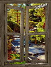 Stone Path Cabin Window Mural