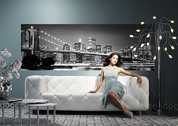 New York Brooklyn Bridge Black & White 4-320 Wall Mural by Komar