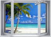 Tropical Ocean Window 1-Piece Peel & Stick Canvas Mural