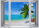 Tropical Beach Window #2 One-Piece Canvas Peel & Stick Wall Mural