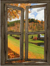 Vermont Cabin Window Peel & Stick (1 piece) Canvas Wall Mural