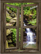 Waterfall Cabin Window #3 Peel & Stick (1 piece) Canvas Wall Mural