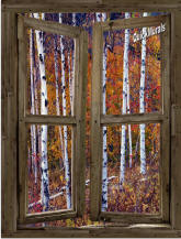 Wilderness Cabin Window Peel & Stick (1 piece) Canvas Wall Mural