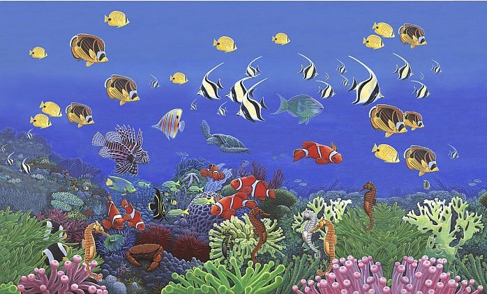 Wonders of the sea wall mural c868 for Environmental graphics giant world map wall mural