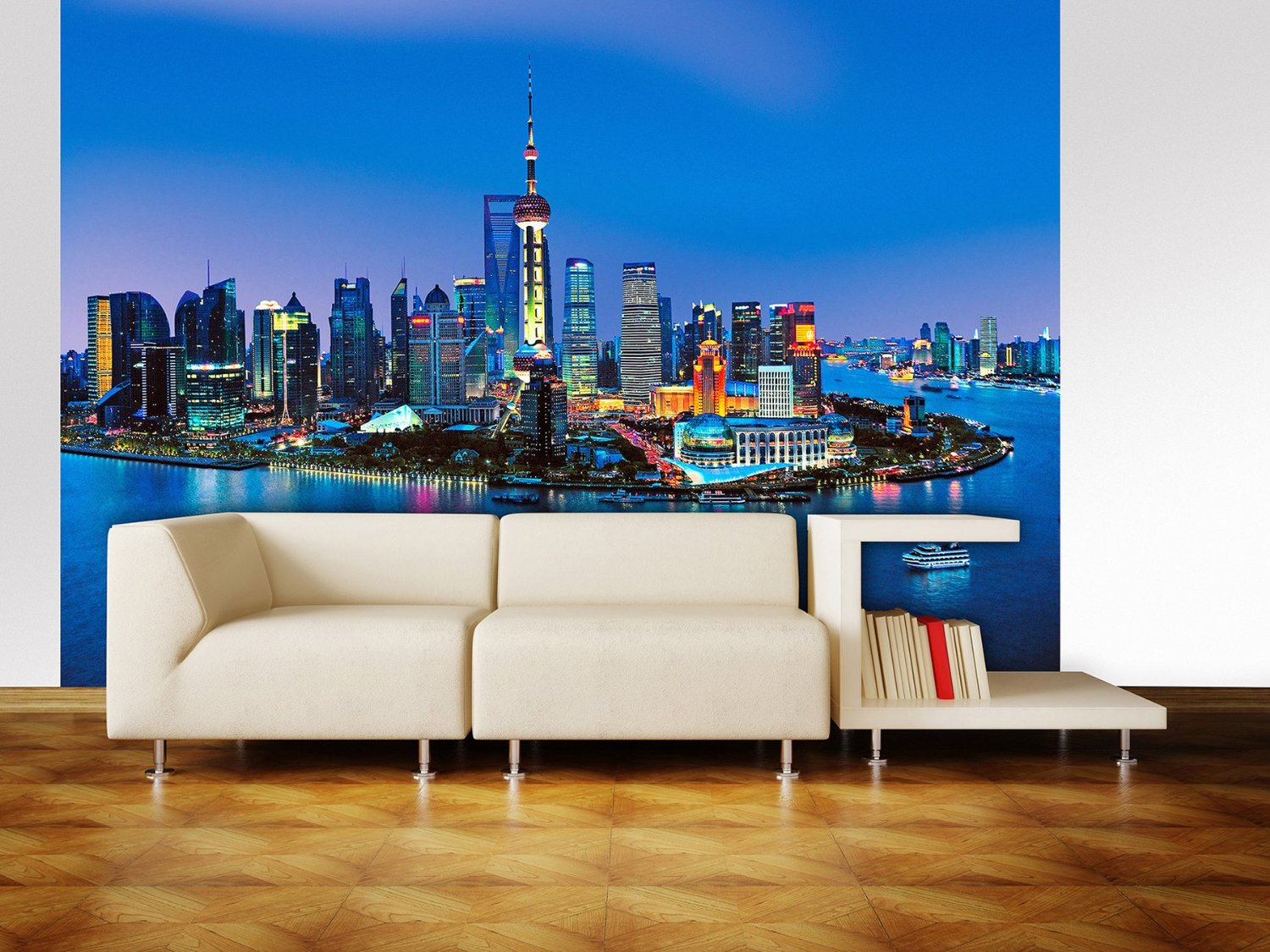 Shanghai skyline wall mural dm135 for Cityscape murals photo wall mural