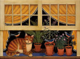 Cat Nap Window Mural