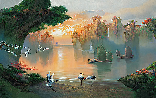 Secret lagoon asian wall mural pr1815 for Asian mural wallpaper