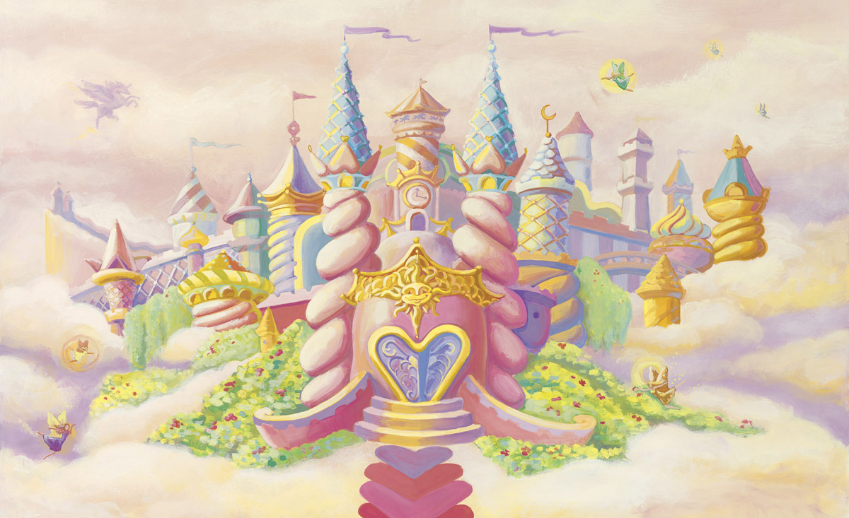 Princess castle wall mural c836 for Castle mural wallpaper