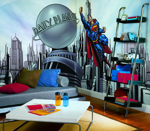 Superman cityscape yh1477m wall mural for Cityscape murals photo wall mural