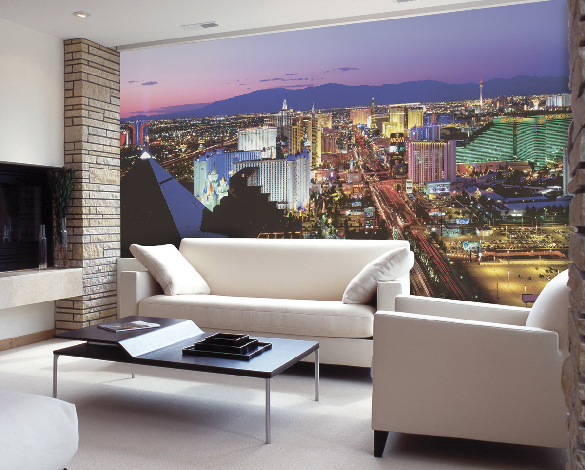 Vegas lights c836 wall mural for Custom wall mural from photo