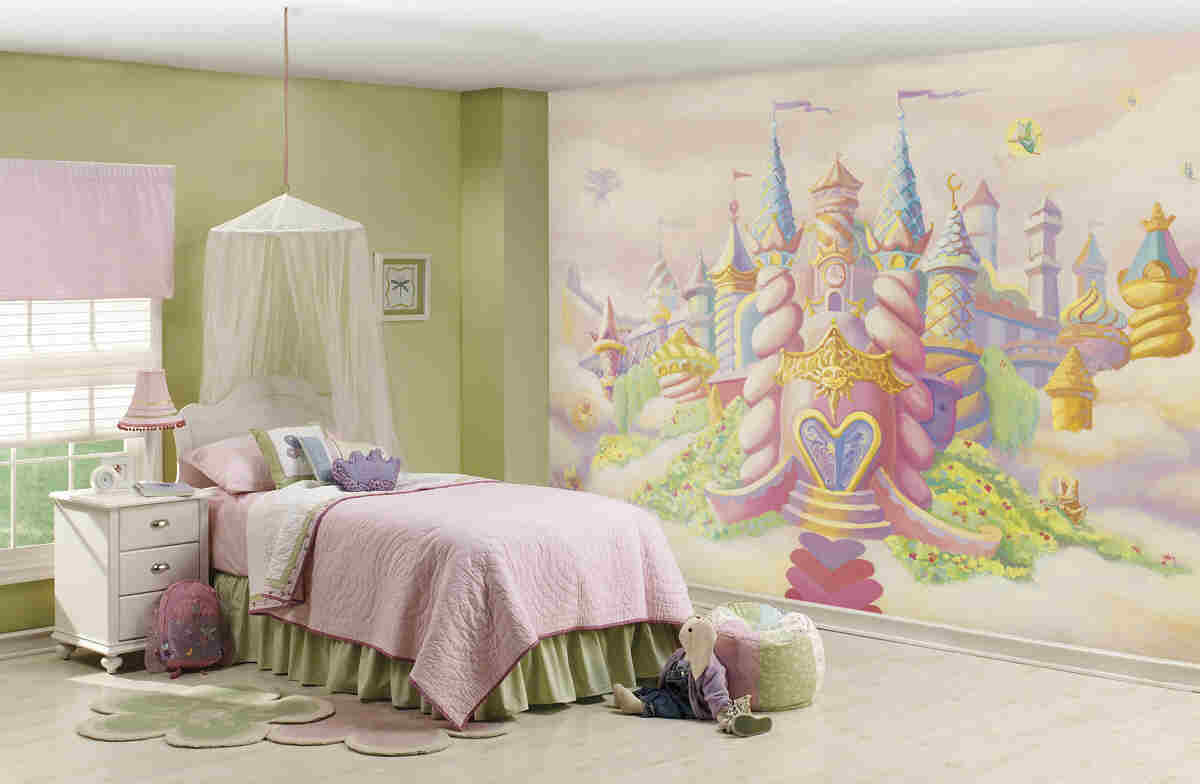 Princess wall murals 2017 grasscloth wallpaper for Castle mural kids room