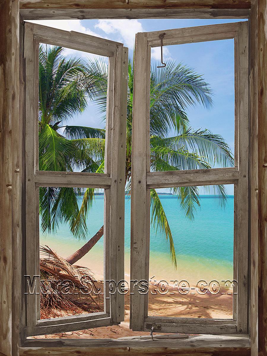 Beach cabin window 3 wall mural for Window wall