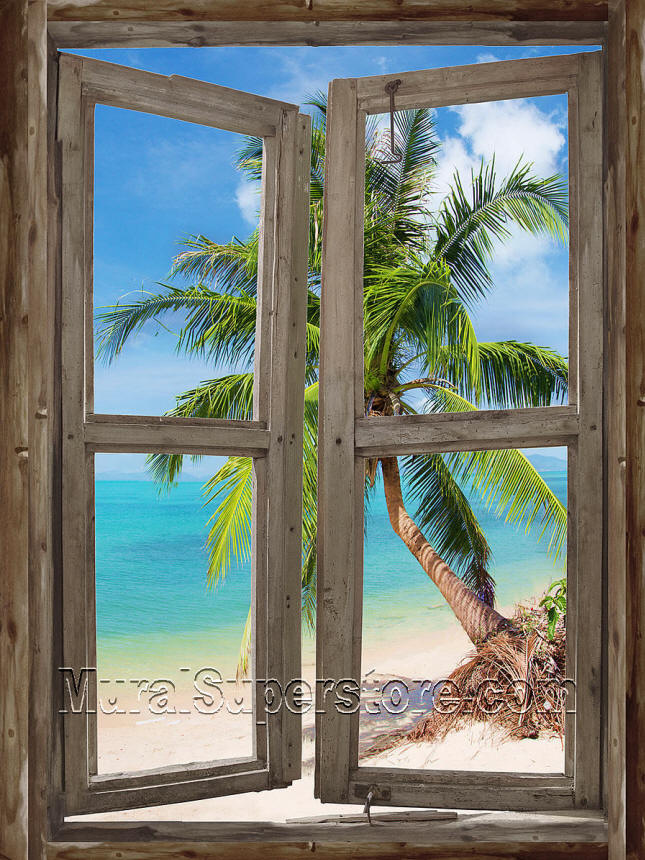 Beach cabin window 4 wall mural for Beach window mural