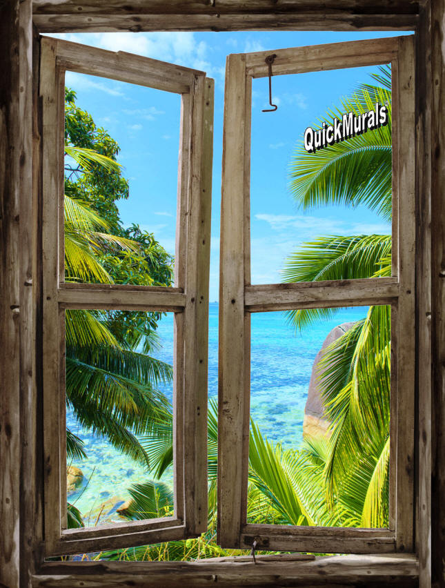 Beach cabin 8 window peel stick 1 piece canvas wall mural for Beach window mural