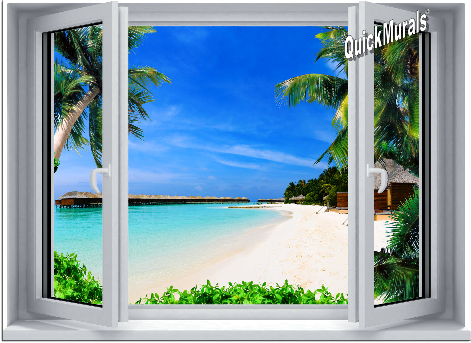 beach resort window 1 piece canvas peel stick wall mural
