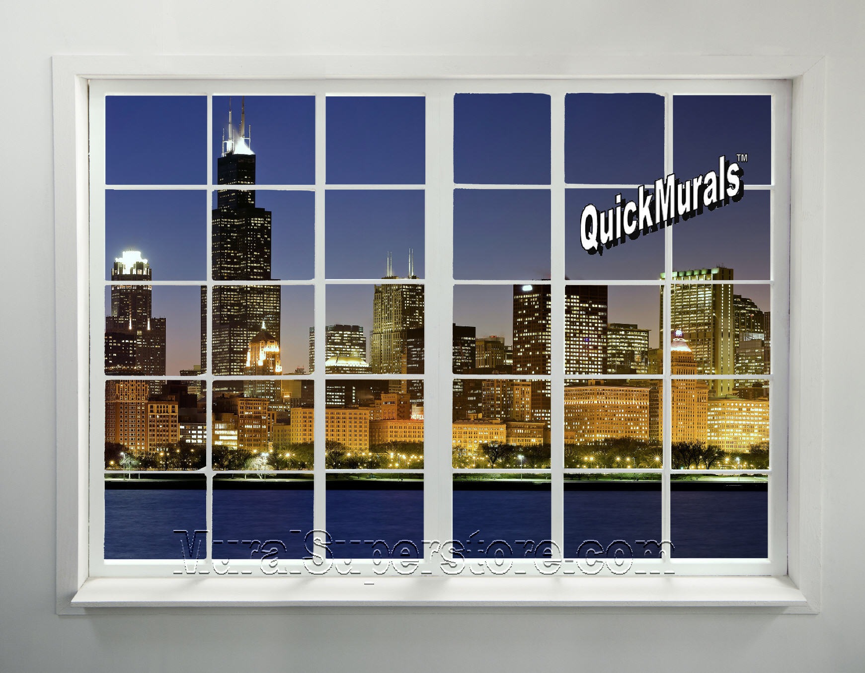 Cityscape Window 1 Peel Stick Wall Mural