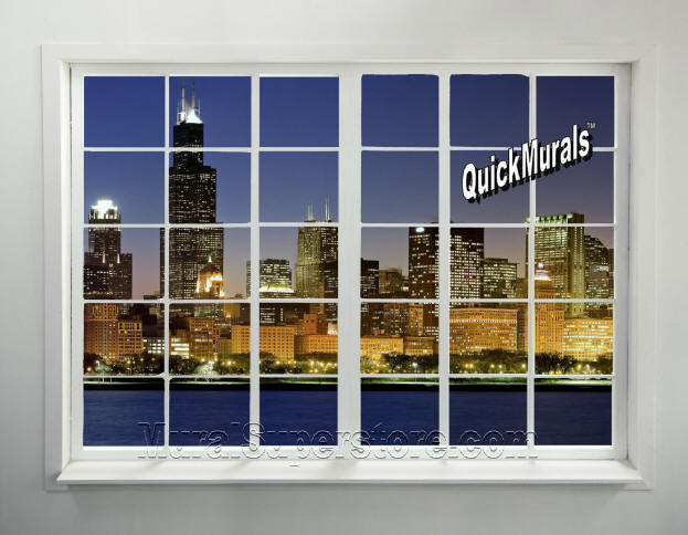 Cityscape window 1 peel stick wall mural for Cityscape murals photo wall mural