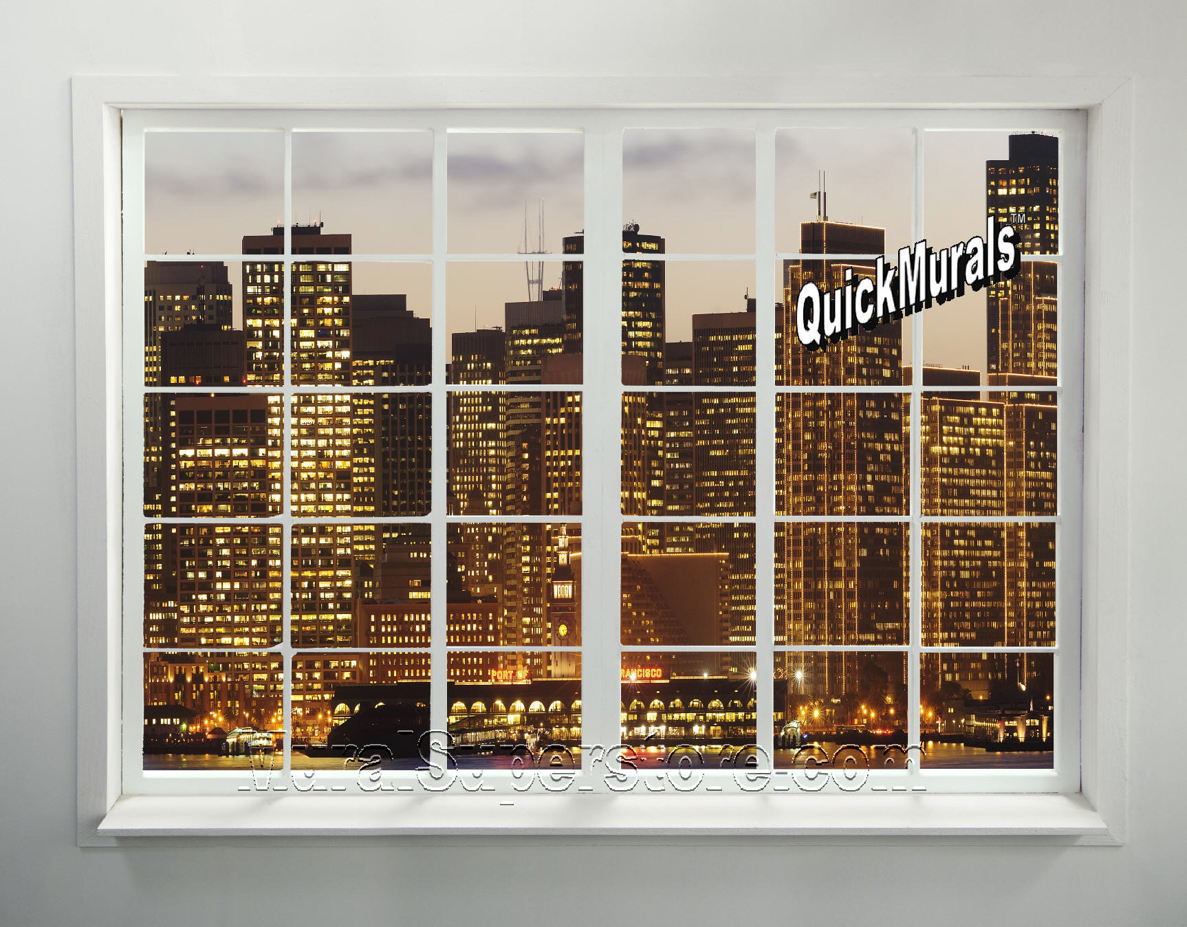 Cityscape window 2 peel stick mural for Cityscape mural