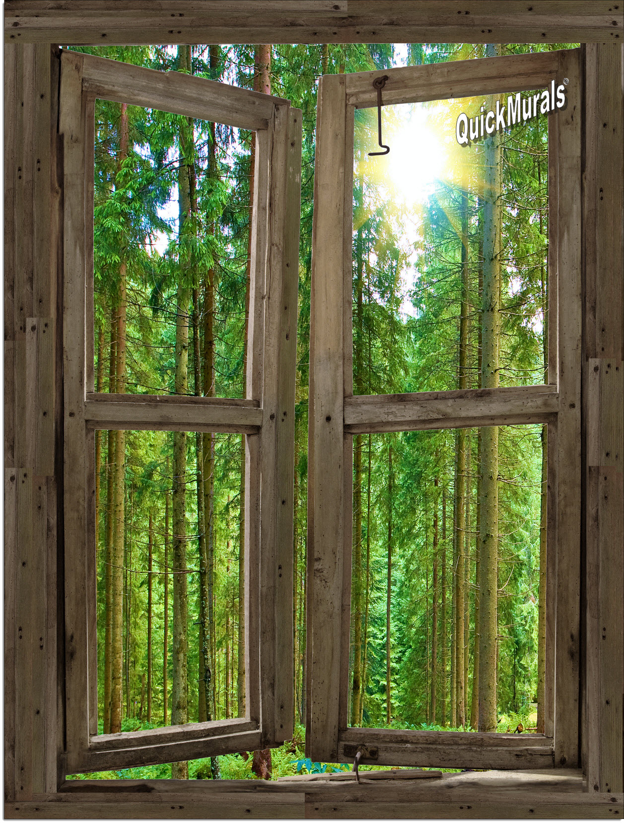 country cabin window wall mural
