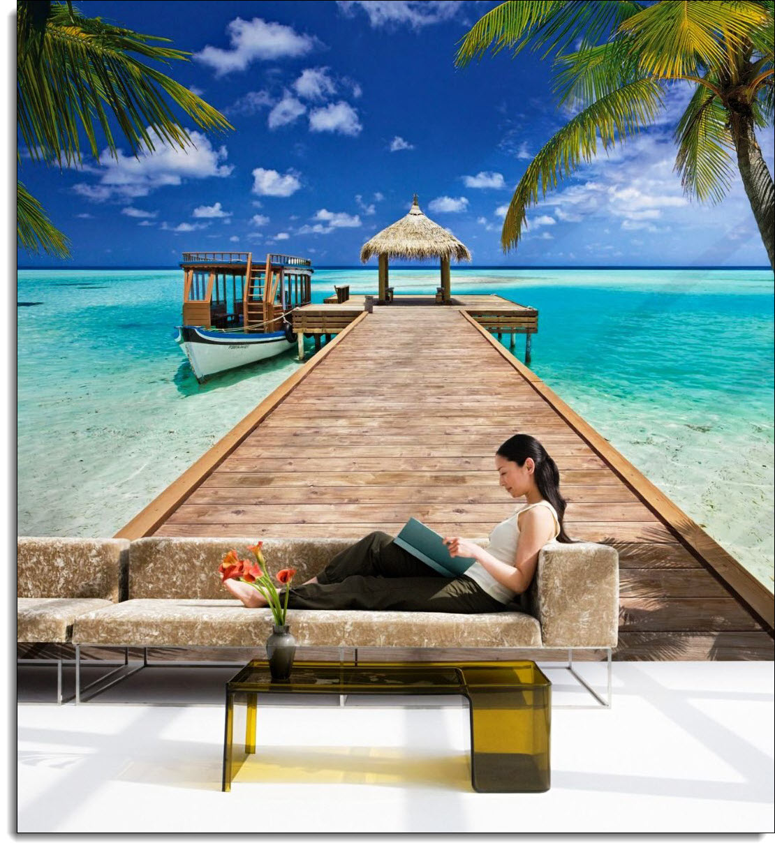 Beach resort wall mural 8 921 for Beach scene mural wallpaper