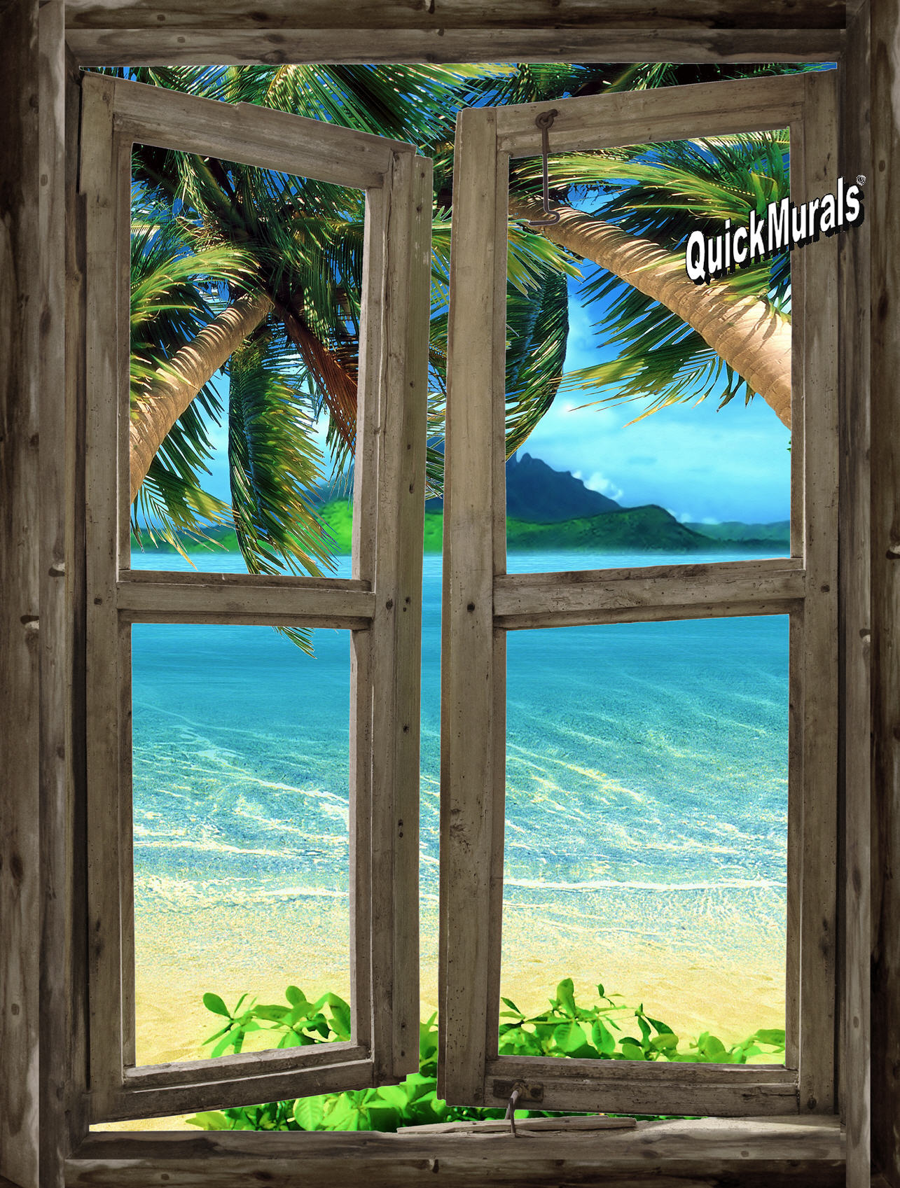 Beach Cabin Window 7 Wall Mural