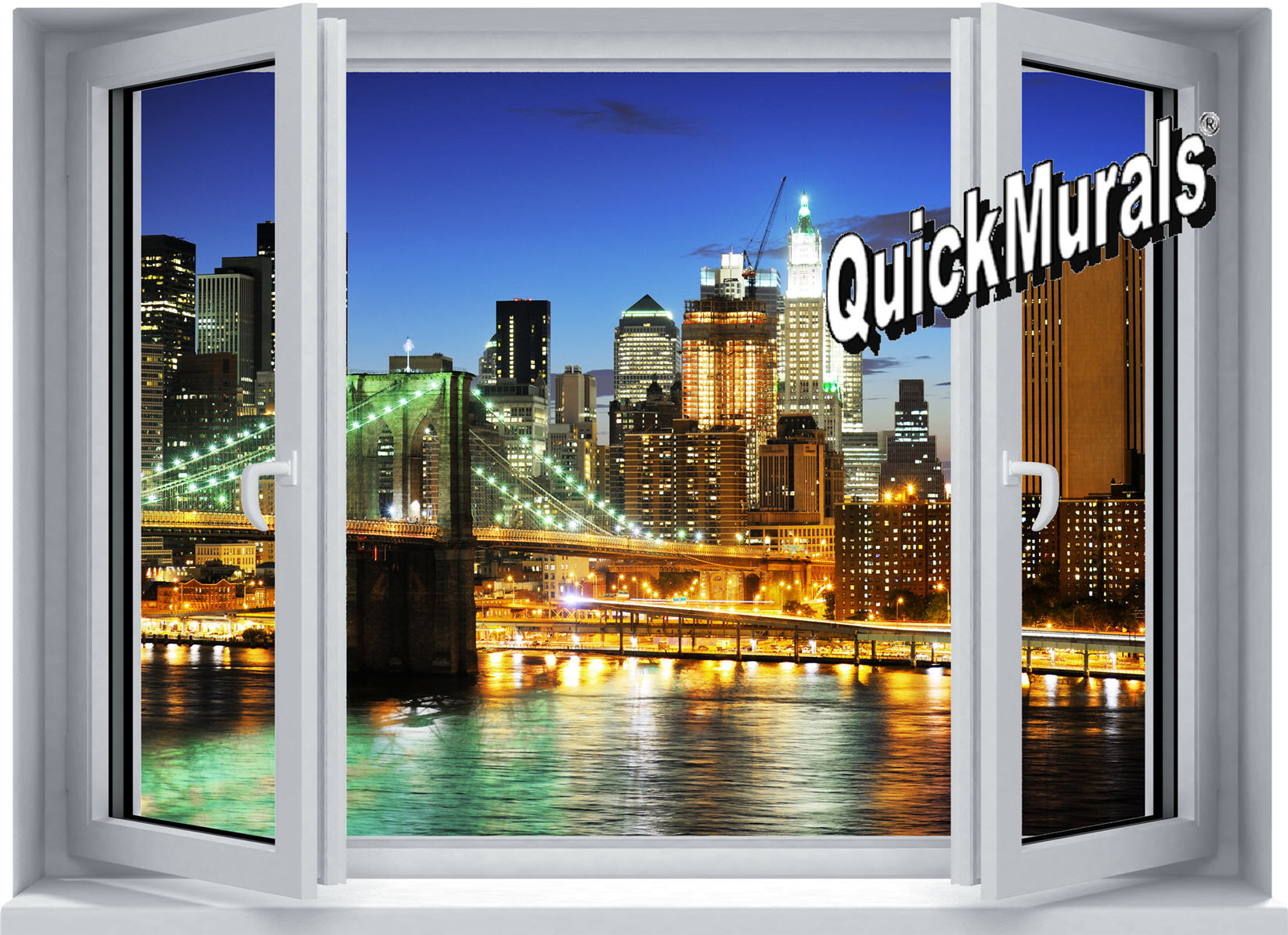 Brooklyn Bridge Window Peel U0026 Stick Canvas Wall Mural