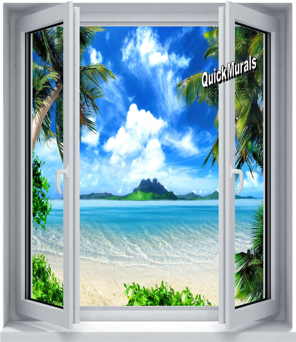 Enchanted island window canvas peel stick wall mural for Canvas wall mural